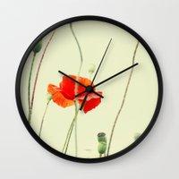 poppy Wall Clocks featuring Poppy by Falko Follert Art-FF77