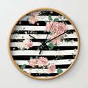 VINTAGE FLORAL ROSES BLACK AND WHITE STRIPES by marilenaxiari