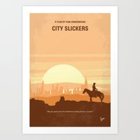No821 My City Slickers minimal movie poster Art Print