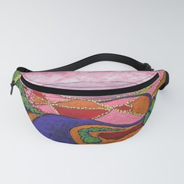 Returning to Civilization by Mike Kraus - art surreal abstract psychedelic landscape pink green Fanny Pack