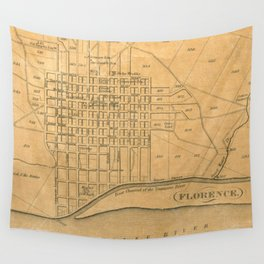 Vintage Map of Florence Alabama (1840) Wall Tapestry