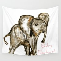 baby elephant Wall Tapestries featuring Baby Elephant Pink by James Peart