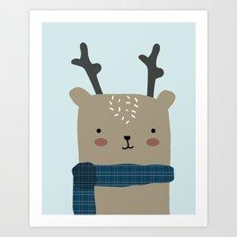 Reindeer in the Winter Art Print