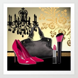 Chandelier Handbag Pumps Cosmetics Fashion Collage Art Print