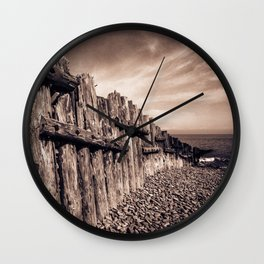 Groynes in Sepia Wall Clock