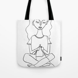 knitting in black and white Tote Bag