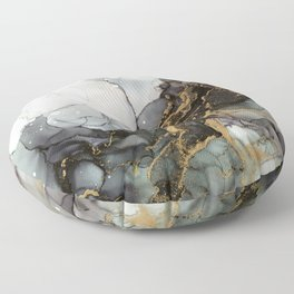 Black Gold Marble Storm Floor Pillow