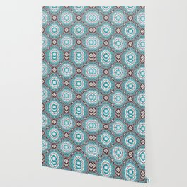 Portuguese Tiles Azulejos Aquamarine Black White Pattern Wallpaper