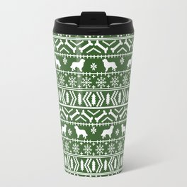 Bernese Mountain Dog fair isle christmas green and white pattern holiday dog breed gifts Travel Mug