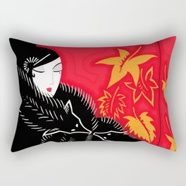 "Art Deco Illustration ""Furs"" by Erté Rectangular Pillow"