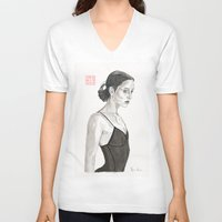 ballerina V-neck T-shirts featuring Ballerina by Bryan James