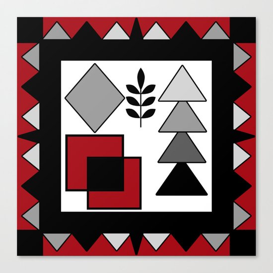 Ethnic pattern in red-black-white colors Canvas Print