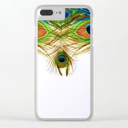 GORGEOUS BLUE-GREEN PEACOCK FEATHERS ART Clear iPhone Case