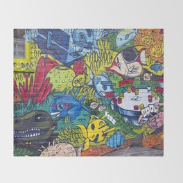 Graffiti Town Throw Blanket