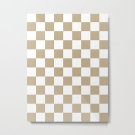 Checkered - White and Khaki Brown Metal Print