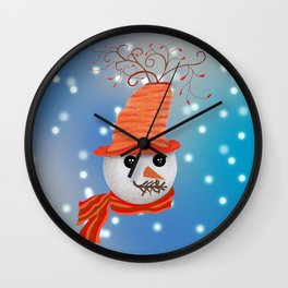 Snowman Christmas Card Wall Clock