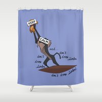 simba Shower Curtains featuring Keep Calm: Simba by NomadicArt