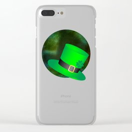 A Leprechauns Hat on a textured green background Clear iPhone Case