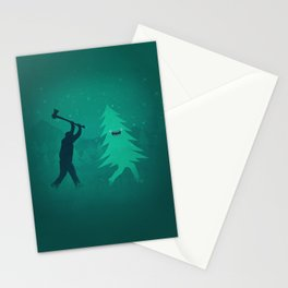 Funny Christmas Tree Hunted by lumberjack (Funny Humor) Stationery Cards