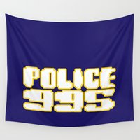 police Wall Tapestries featuring 995 Police patrol by Tony Vazquez