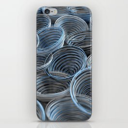 Black, white and blue spiraled coils iPhone Skin