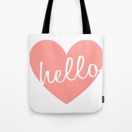 Hello Heart Wall Art #5 Pink Heart Tote Bag