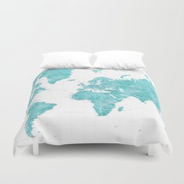Highly detailed watercolor world map in aquamarine Duvet Cover