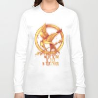 mockingjay Long Sleeve T-shirts featuring Mockingjay by KanaHyde