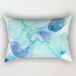 Ocean Mist   Turquoise Ink Abstract Painting Rectangular Pillow