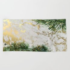 gold marble texture with palm trees Beach Towel