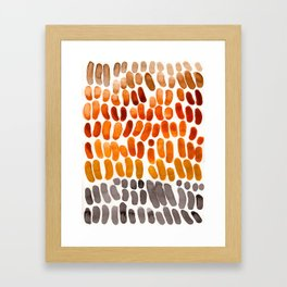 Yellow Ochre Brown Dark Brown Fall Autumn Color Palette Natural Patterns Colorful WatercolorAbstract Framed Art Print
