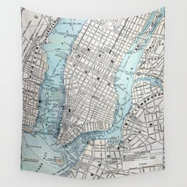 Vintage Map of New York Wall Tapestry