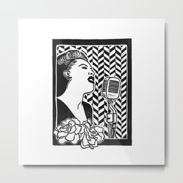Lady Day (Billie Holiday block print blk) Metal Print