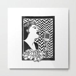 Lady Day (Billie Holiday block print blk) Metal Print