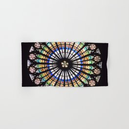 Stained glass cathedral rosette Hand & Bath Towel