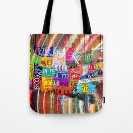 License Plate Map of United States Lights Tote Bag