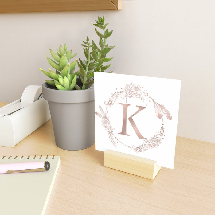 Letter K Rose Gold Pink Initial Monogram Mini Art Print