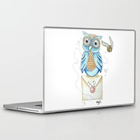 hedwig Laptop & iPad Skins featuring Harry Potter - Hedwig Owl and Golden Snitch by Cortney Palmer Art