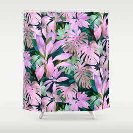 Tropical Night Magenta & Emerald Jungle Shower Curtain