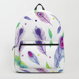 peacock feathers a Backpack