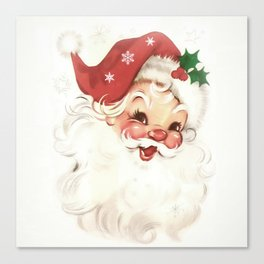 Red retro vintage Santa Canvas Print