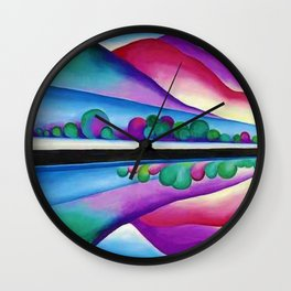Lake George Reflection landscape painting by Georgia O'Keeffe Wall Clock