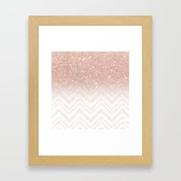 Modern faux rose gold glitter ombre modern chevron stitches pattern Framed Art Print