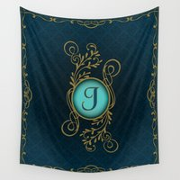 monogram Wall Tapestries featuring Monogram J by Britta Glodde