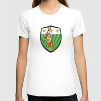 lacrosse T-shirts featuring Native American Lacrosse Player Shield by patrimonio