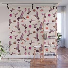 Hummingbird & Tropical Leaves - Soft Pastel Pattern Wall Mural