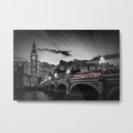 LONDON Westminster Bridge at Sunset | Colorkey Metal Print