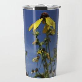 Yellow Coneflower, Ratibida, with azure prairie sky Travel Mug