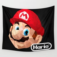 mario bros Wall Tapestries featuring Mario Poster by Rebekhaart