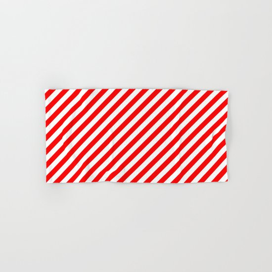 Diagonal Stripes (Red/White) Hand & Bath Towel